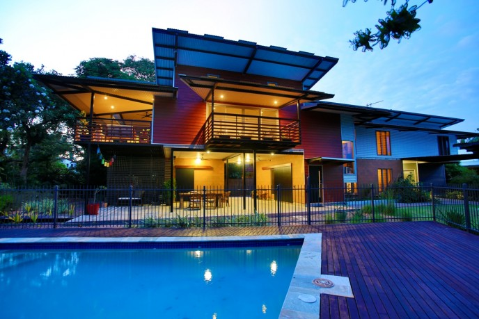 pool & front elevation