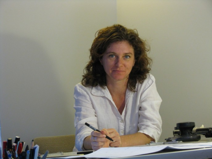 architect jo rees 2009 at the drafting table